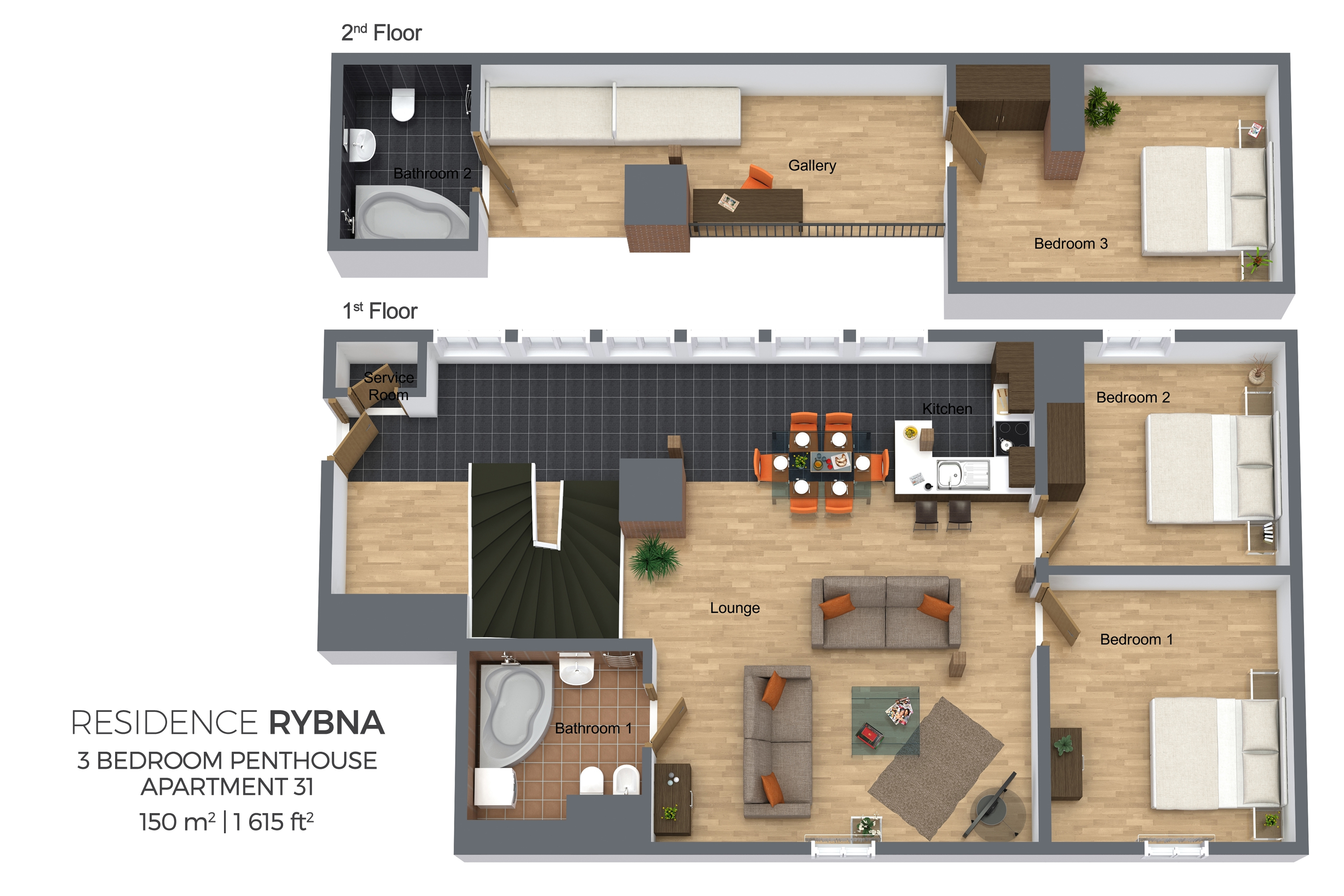 3 bed floor plan at Residence Rybna Apartments
