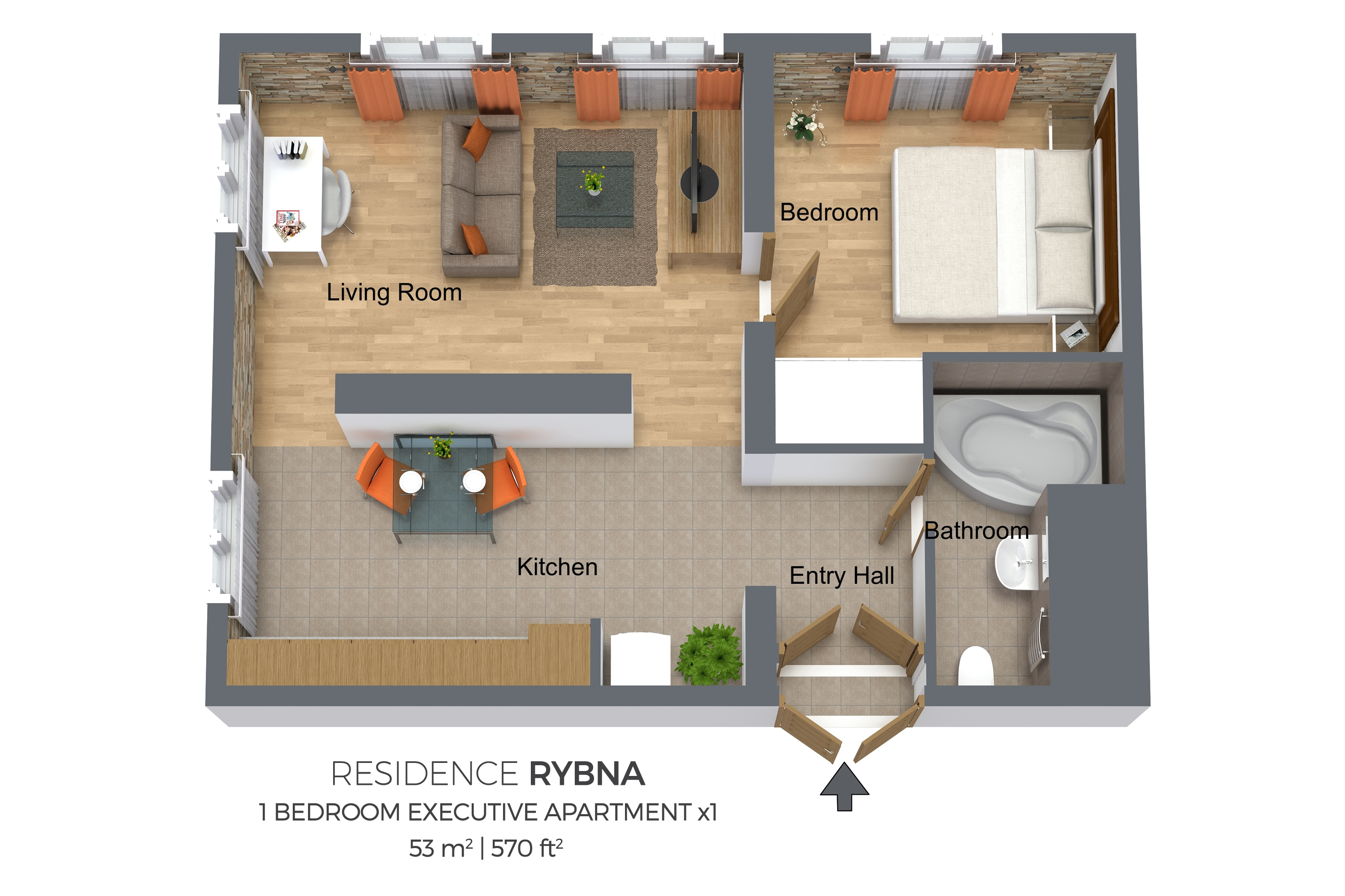 1 bed executive floor plan at Residence Rybna Apartments