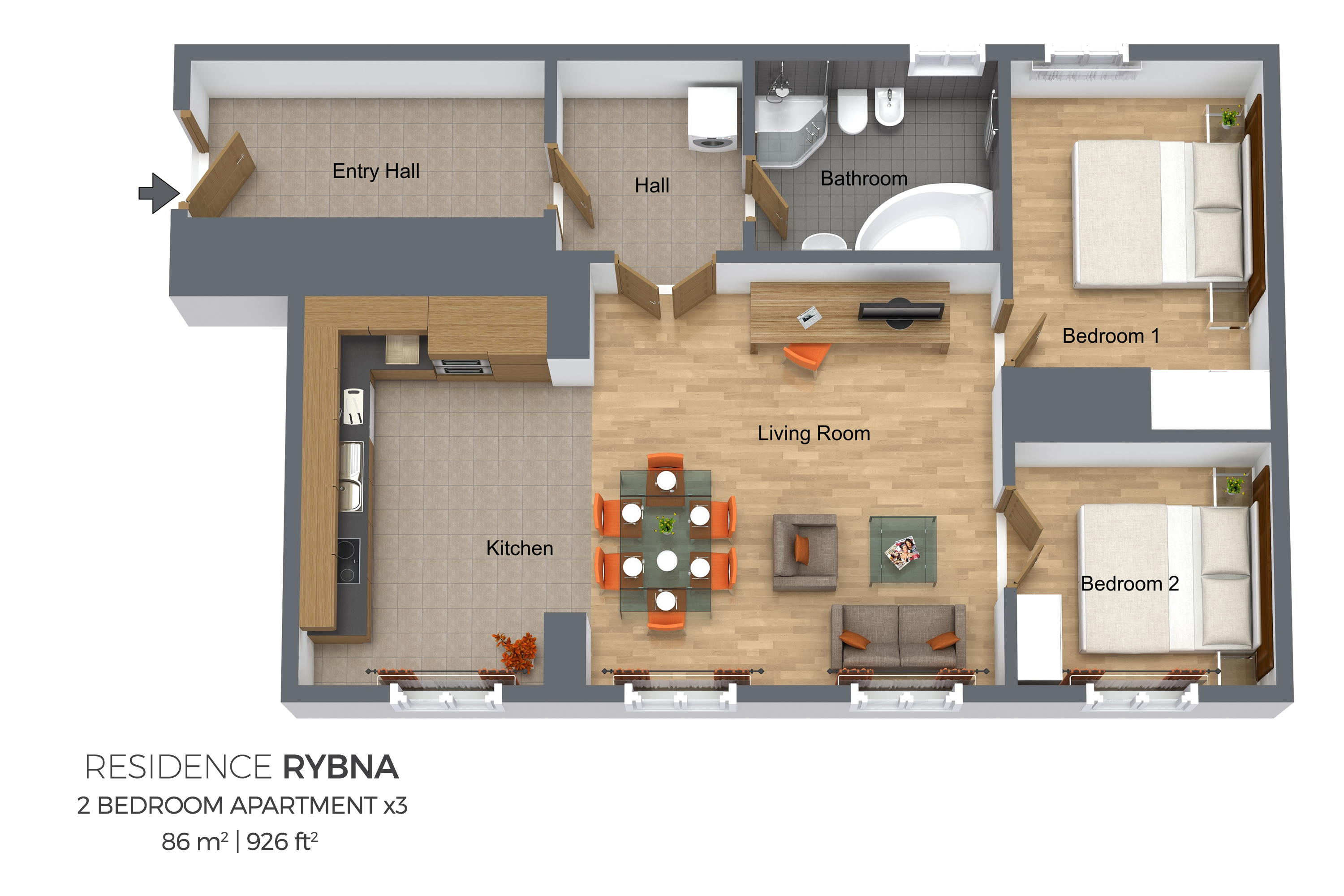 2 bed floor plan at Residence Rybna Apartments