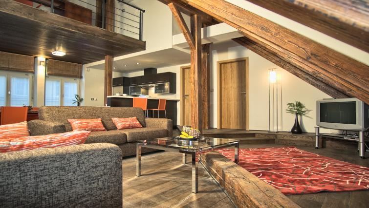 Stylish living area at Residence Rybna Apartments