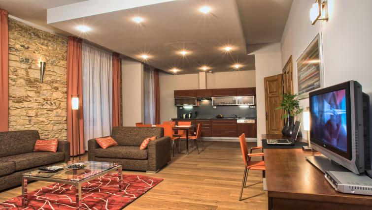 Open plan living area at Residence Rybna Apartments