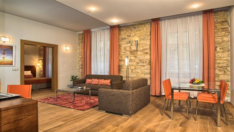 Living space at Residence Rybna Apartments
