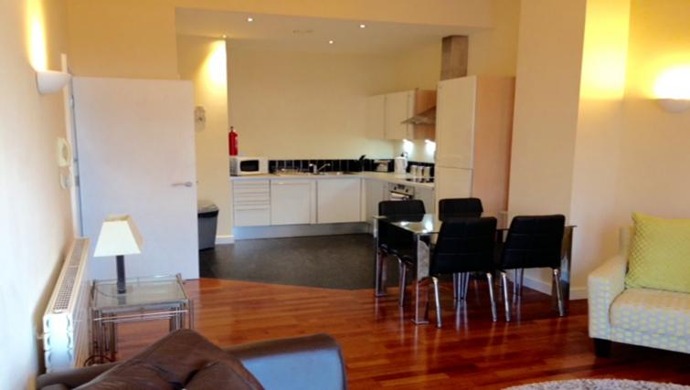Open plan living space at Centralofts Apartments
