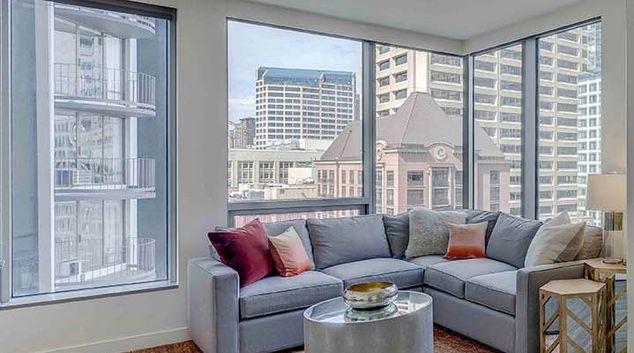 Living room at Premier On Pine, Belltown, Seattle