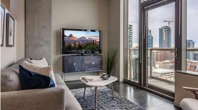 Living room at Via6 Apartments, Belltown, Seattle