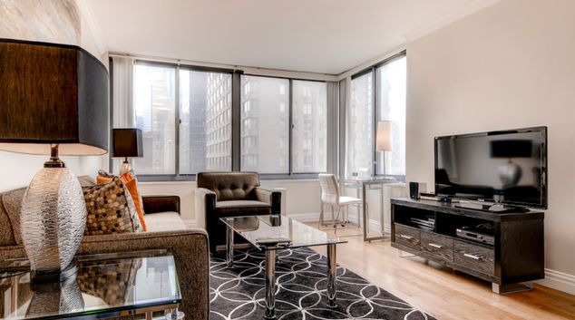 Living area at Ritz Plaza Apartments, Times Square, New York