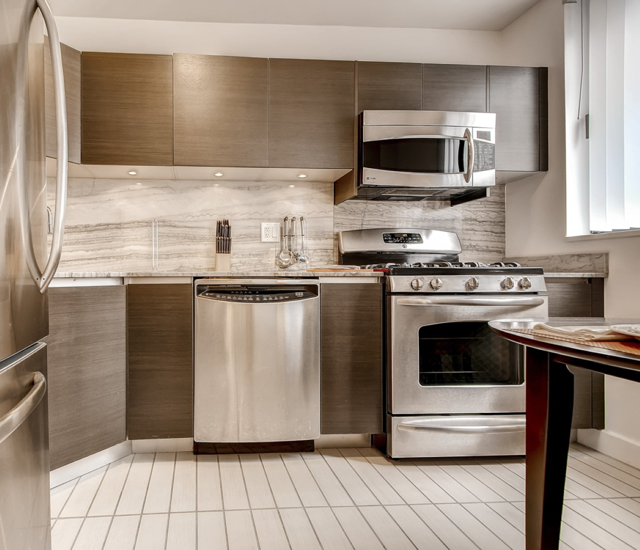 Kitchen at Ritz Plaza Apartments, Times Square, New York