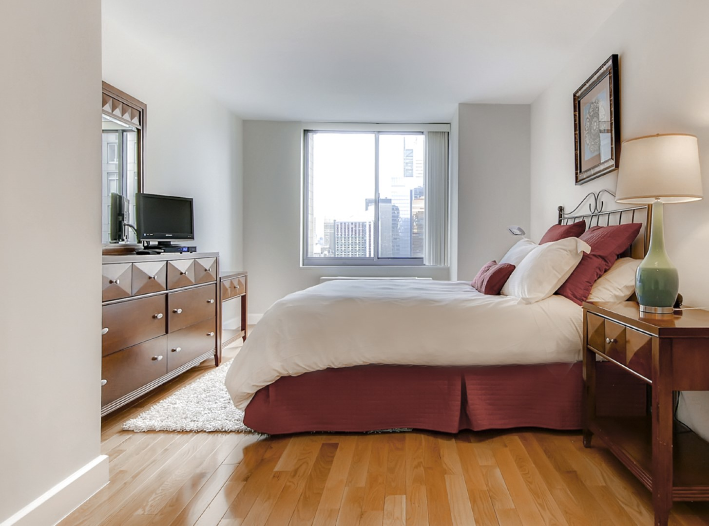 Spacious bedroom at Ritz Plaza Apartments, Times Square, New York