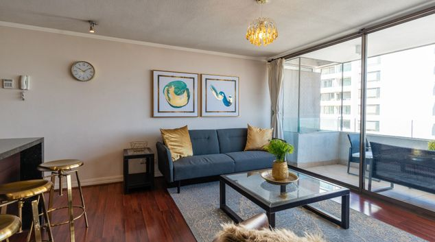Living area at Kennedy Gold Apartment, Las Condes, Santiago