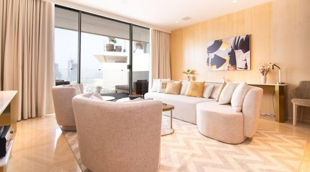 Living area at Five Palm Jumeirah Hotel Residences, Palm Jumeriah, Dubai