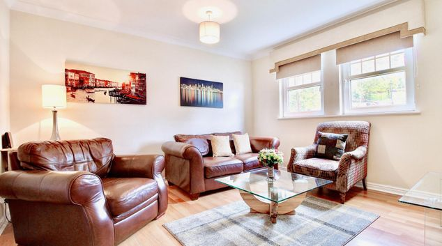 Living room at Pleasance Street Apartment, Shawlands, Glasgow