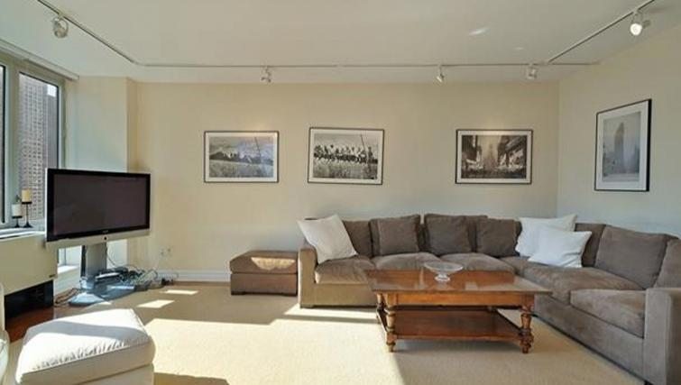 Modest living area in Bridge Tower Place Apartments