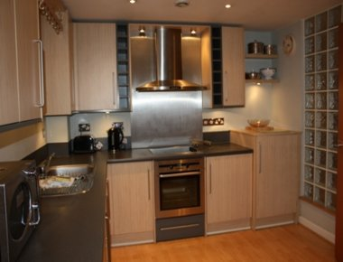 Modern kitchen area in Town Quay Apartments