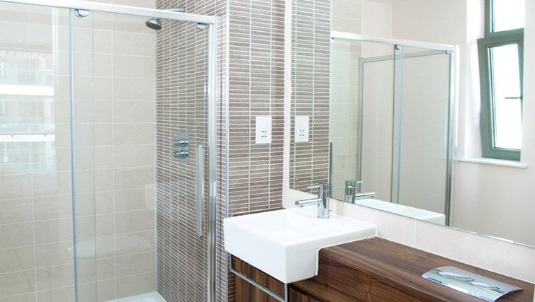 Serene bathroom in Titanic Arc Apartment