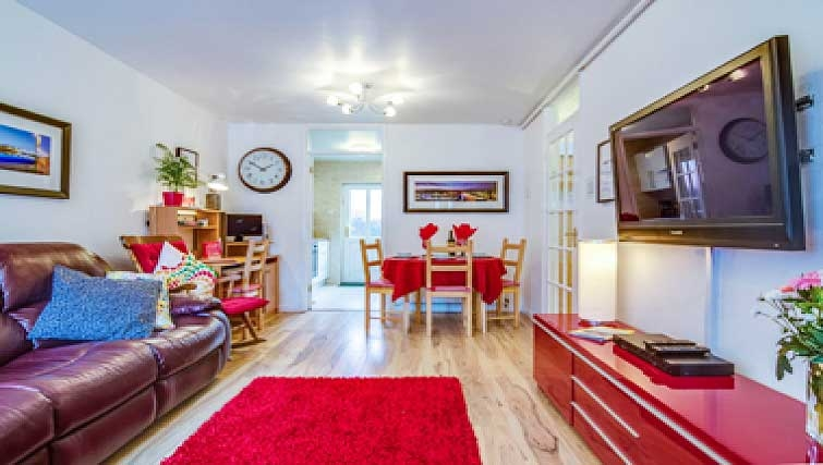 Large living area in Shaftesbury Square Apartment