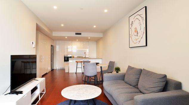 Living area at Arise Atlas, South Brisbane, Brisbane