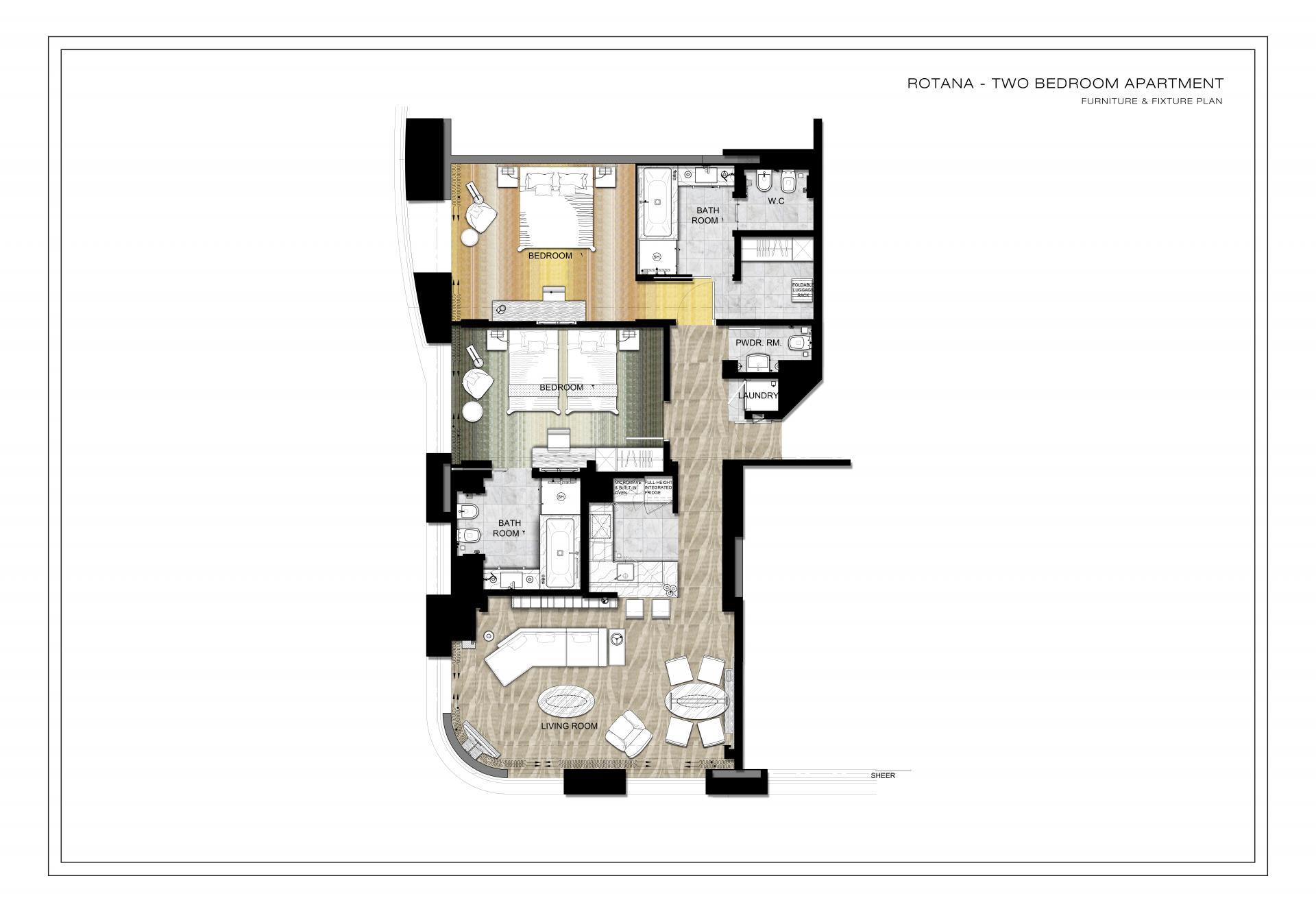 Floorplan 3 at Towers Rotana Apartments