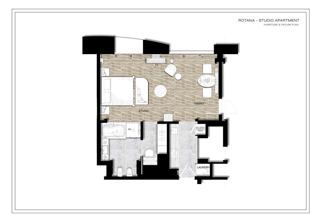 Floorplan 1 at Towers Rotana Apartments