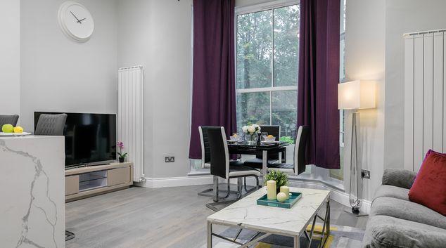 Living room at Carlton Vale Apartments, St Johns Wood, London