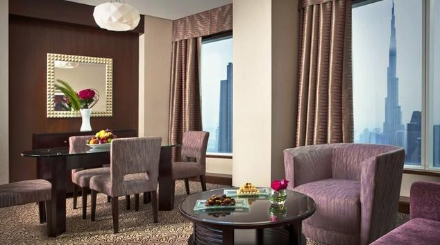 Living area at Rose Rayhaan Apartments