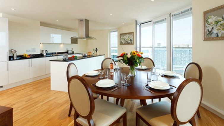 Spacious dining area in SACO Canary Wharf Trinity Tower