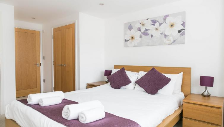 Double bed at The Atrium Apartments