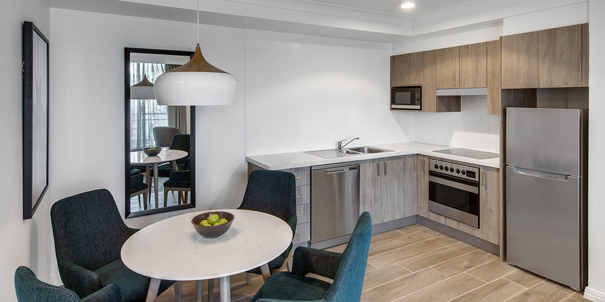 Crisp kitchen at Adina Apartment Hotel Coogee