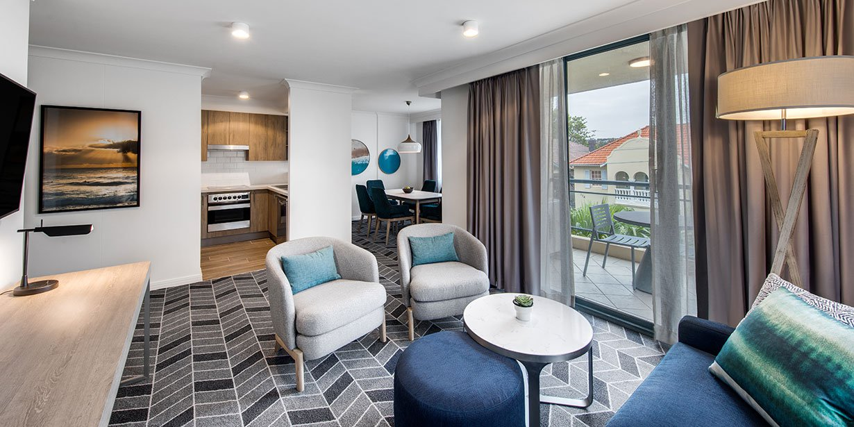Living area at Adina Apartment Hotel Coogee