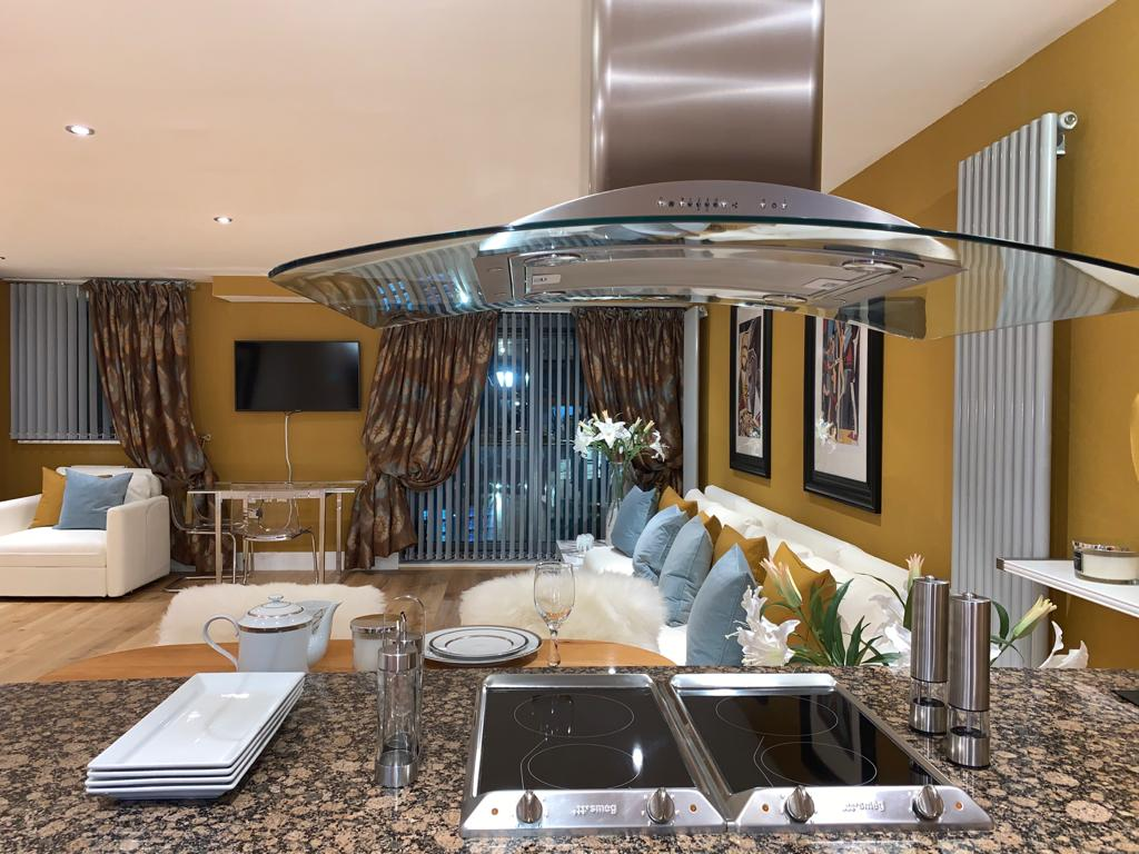 Kitchen at Millharbour Apartment, Canary Wharf, London