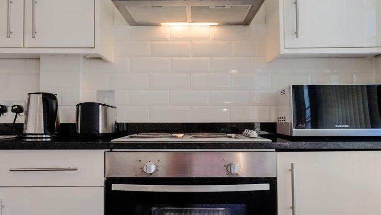Stylish kitchen at Hanbury Street Apartments