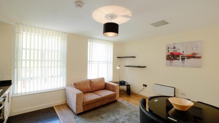 Bright living area in Hanbury Street Apartments