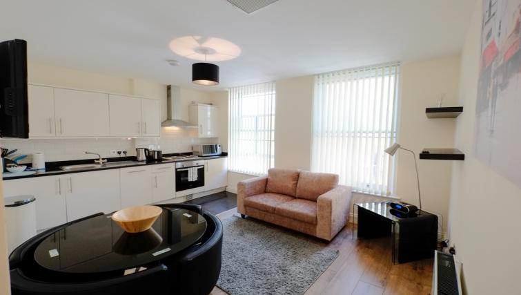 Open plan living area in Hanbury Street Apartments