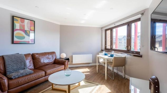 Living area at Chancellor House Apartment, Centre, Glasgow