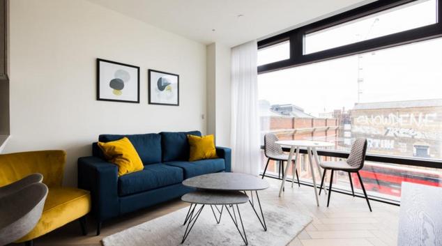 Living room at Principal Place Apartments, Finsbury, London