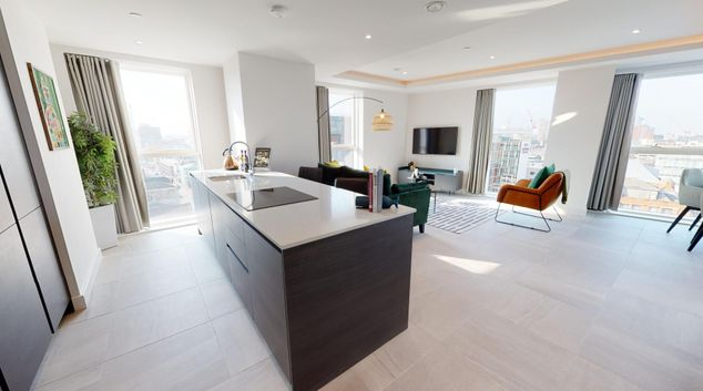 Open plan living at Angel Garden Apartments, N.O.M.A, Manchester
