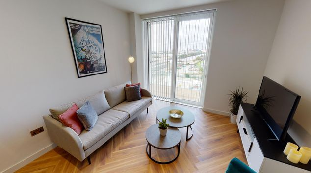 Living area at The Green Room Apartments, Salford Quays, Manchester