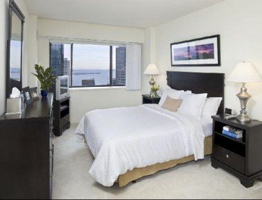 Scenic bedroom in Devonshire Place Apartments