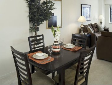 Tasteful dining area in Devonshire Place Apartments