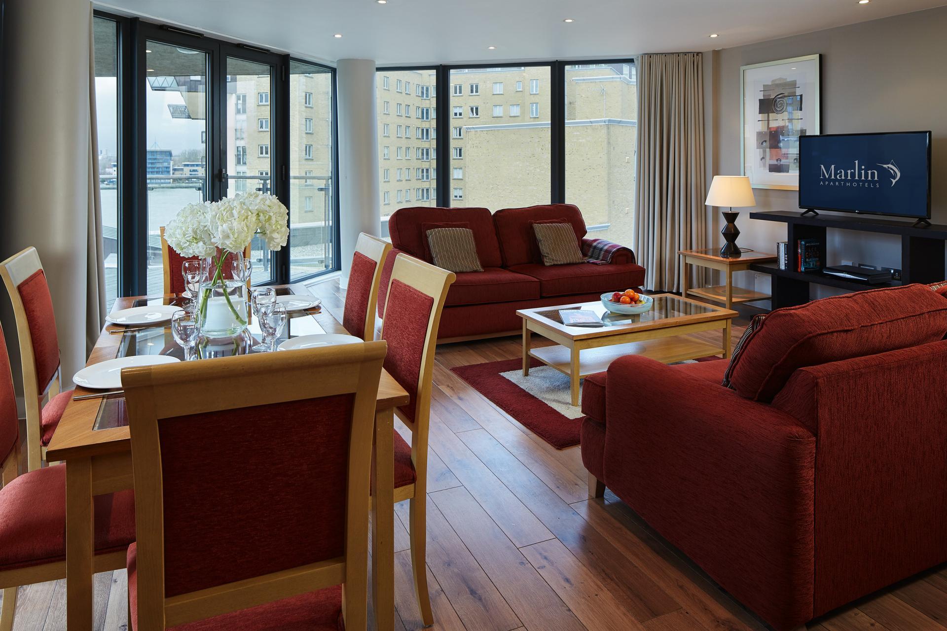 Sofas at Marlin Canary Wharf Apartments, Canary Wharf, London