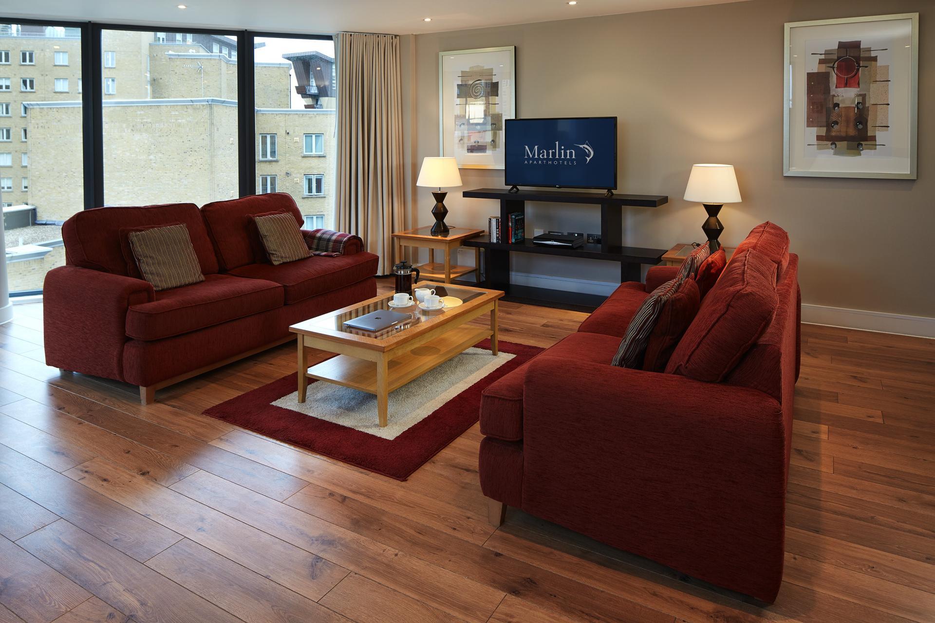 Living area at Marlin Canary Wharf Apartments, Canary Wharf, London