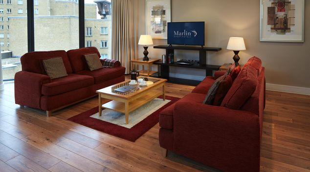Living area at Marlin Canary Wharf Apartments, Canary Wharf, London