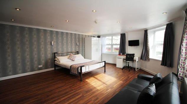 Open plan living area in Croydon High Street Apartments