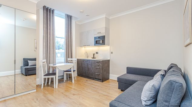 Living area at Courtfield Gardens, Earls Court, London