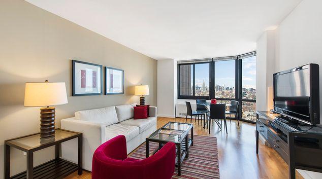 Living room at Tribeca Apartments