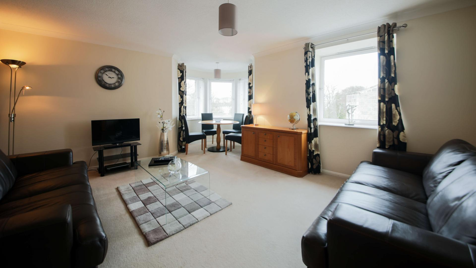 Spacious living room at The Spires Aberdeen