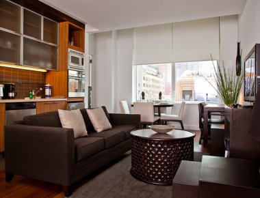Beautiful living area in 606 West 42nd Street Apartments