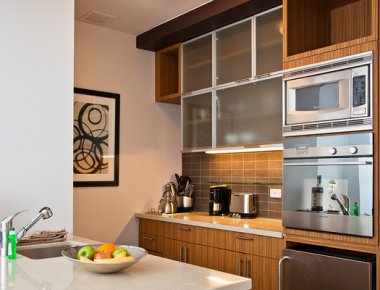 Peaceful kitchen in 606 West 42nd Street Apartments