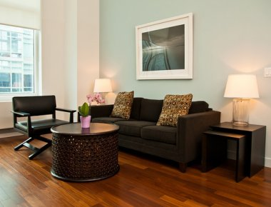 Graceful living area in 606 West 42nd Street Apartments