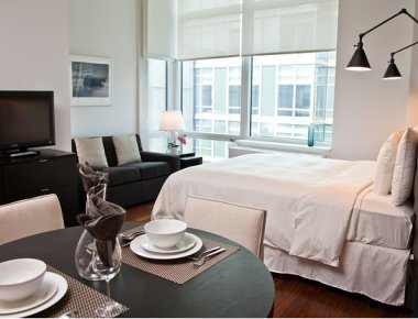 Beautiful bedroom in 606 West 42nd Street Apartments