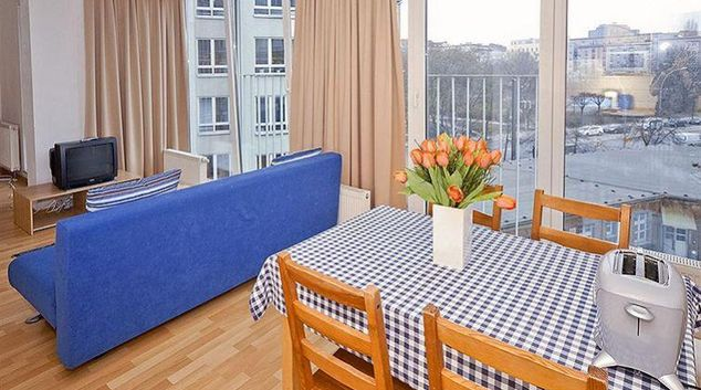 Bright living area at Gartenstrasse Apartments